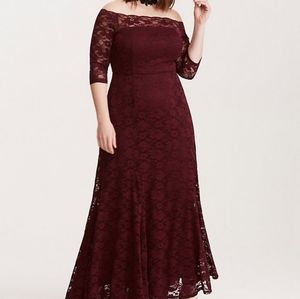 Torrid Lace Off the Shoulder Gown